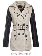 Brave Soul Womens Ladies Pu Sleeves Double Breasted Trench Mac Jacket Coat