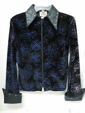 1849 Women's Black/Blue/Purple Starburst Western Equitation Show Shirt~ Small