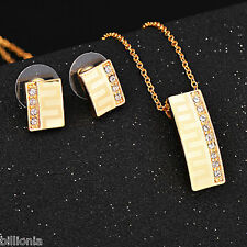 18ct Gold Plated Swarovski Elements Crystal Stud Jewellery Set Earrings Necklace
