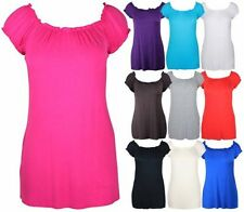 NEW WOMENS OFF SHOULDER ELASTICATED BOHO LADIES STRETCH LONG PLUS SIZE GYPSY TOP
