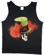 Men's tank top skull top hat biker sleeveless tee black t-shirt
