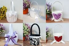 Romantic Wedding Party Rhinestone  Satin Bowknot  Pearl Lace Flower Girl Basket