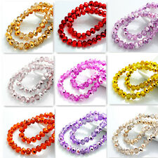 New Colors 40pcs Rondelle Faceted Crystal Glass Loose Spacer Beads 8mm