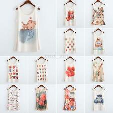 Fashion Sleeveless Printed T-shirts Womens Animals Floral Blouse Vest Tank Tops