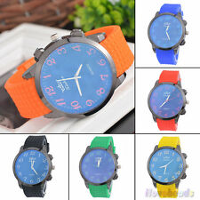 Fashion Mens Boys Sports Silicone Jelly Watch Quartz Wristwatch Gift