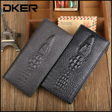 New Men's Genuine Leather Crocodile Wallet Vintage Coin Purse Long Card Holder