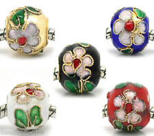 20 Flower Cloisonne Spacer Beads Fit Charm Bracelet 10x11mm M0090