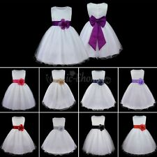 Girl Sleeveless Sash Formal Wedding Bridesmaid Party Christening Dress Age 2-14Y