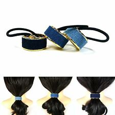 Denim Metal Hair Cuff Ponytail Holder Wrap Tie Band Rope Ring Casual Accessory