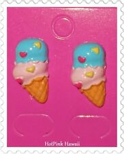 3 Style Two scoop Ice Cream Cone Hearts Retro Funky Silver Plated Studs Earrings