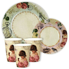 Timeless Treasures / vintage party 7in & 9in Plates and Cups Pack