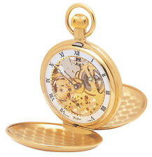 Gold Plated Woodford Full Hunter Skeloton Pocket Watch With Albert Chain 1014