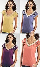 a.n.a Womens Plus Size 1X or Large Choice Crochet Trim V-Neck Sheer Top Shirt