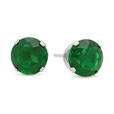 925 Sterling Silver Brilliant Cut Prong Set Emerald Green CZ Round Stud Earrings