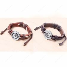Retro Genuine Leather Cuff Bracelet Wristband Ethnic Yin Yang Eight Diagrams New