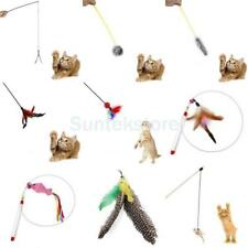 Kitten Cat Pet Toy Chaser Wand Stick Teaser Feather Bell Interactive Play Fun