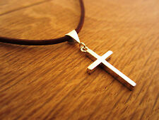 Sterling Silver Cross Pendant with Leather Cord and Sterling Silver Necklace