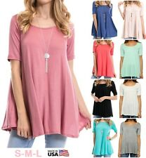 USA Women Scoop Neck Draped Loose Tunic Top Casual Short Sleeve Loose T-Shirt