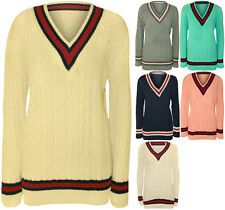 Ladies Knitted V Neck Cable Cricket Jumper Long Sleeve Womens Striped Top 8-14