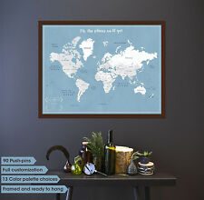 Wedding Travel Map, Wedding map, Framed Push Pin map, couple travel map