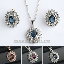 Fashion Simulated Amethyst Ruby Sapphire Earrings & Necklace Set 18KGP Crystal