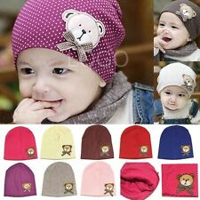 Baby Kids Toddler Cotton Dots Hat Beret Cap Beanie Cap with Bear Pattern Fine