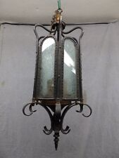 Antique Brass Iron Gothic Ceiling Light Fixture Iced Glass Panels Old Vtg 461-16
