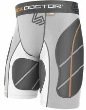 New Shock Doctor Mens Baseball Catchers Ultra Padded Sliding Shorts Grey S-XL