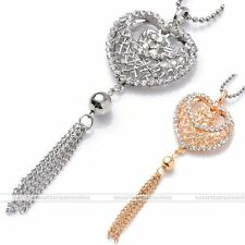 Silver Gold Crystal Love Heart Tassel Charm Dangle Bead Pendant Fit Necklace DIY