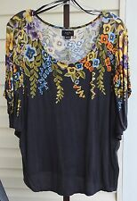 Deletta Anthropologie Charcoal Floral Scoop Dolman Batwing Shirt Top Rayon Sz S