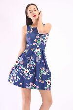 New Women Ladies Navy Daisy Floral Skater (107) Party Swing Dress Size 8-24