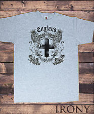 Mens Grey T-shirt- England Lions Always Loyal St George's and Euro 2016 Print