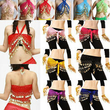Fashion 3Rows Gold Coin Belly Dance Costume Hip Scarf Skirt Belt Dancing Wrap