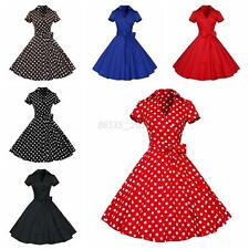 Hepburn Style 50s Vintage Retro V-Neck Swing Lapel Shirt Rockabilly Pinup Dress