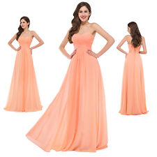 Chiffon Full Length Bridesmaids Evening Dress Wedding Summer Beach Pageant Gown
