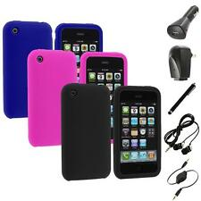 Color Silicone Rubber Gel Skin Case Cover+Accessories for Apple iPhone 3G 3GS
