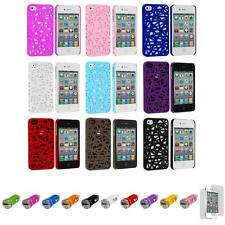 For iPhone 4 4S Line Bird's Nest Style Hard Case Cover+Car Charger+LCD
