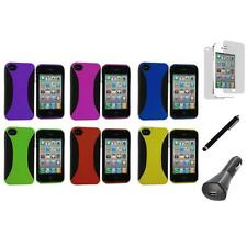 Color Hybrid Hard/TPU Case Cover+LCD+Charger+Pen for iPhone 4 4S 4G