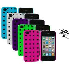 Color Basket Weave Hard Snap-On Rubberized Case+Earphone Mic for iPhone 4 4S 4G
