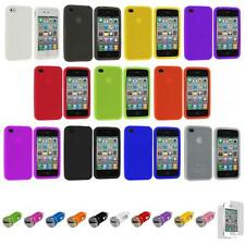 For iPhone 4S 4 Silicone Rubber Gel Soft Skin Case Cover+Car Charger+LCD