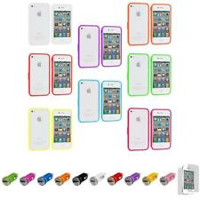 For iPhone 4 4S Bumper TPU Solid Jelly Rubber Case Cover+Car Charger+LCD