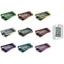 TPU Bumper Frame Cover Case Metal Buttons+3X LCD Protector for iPhone 4 4G 4S