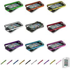 For iPhone 4 4S TPU Bumper Frame Case Cover Metal Buttons+Screen Protector