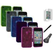 TPU Flower Butterfly Color Case Cover+LCD+Charger+Pen for iPhone 4S 4G