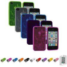 For iPhone 4S 4 TPU Flower Butterfly Jelly Case Cover+Car Charger+LCD