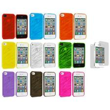 TPU Zebra Color Transparent Rubber Cover Case+3X LCD Protector for iPhone 4S 4G