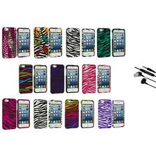 Zebra Design Hard Snap-On Rubberized Case Cover+Earphone Mic for iPhone 5 5S