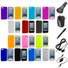 Color Silicone Gel Rubber Soft Skin Case Cover+Accessories for iPhone 5 5S