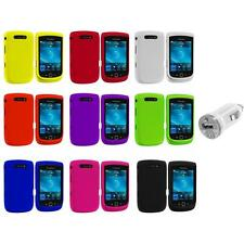 Color Hard Rubberized Cover Case+USB Charger for Blackberry Torch 9800 9810
