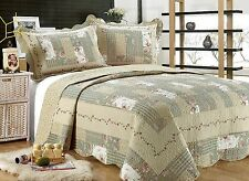55- All For You 3PC quilt set, bedspread and coverlet-Gray Green-4 Sizes